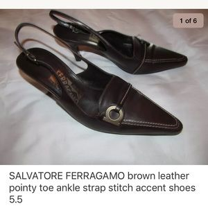 FERRAGAMO pointy toe kitten heel slingback shoes
